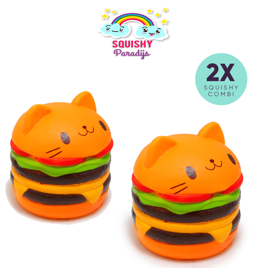 2x Hamburger Cat Squishy Kopen ? Slow Rising Kawaii Squishie SquishyParadijs - SquishyParadijs ...
